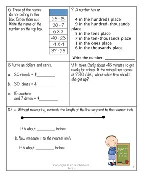 Fourth Grade Math Homework for the Year