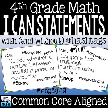 Fourth Grade Math I Can Statements Common Core Standards
