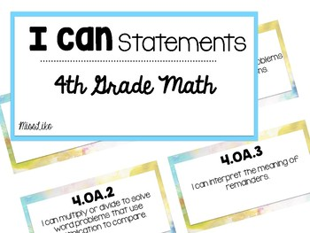 "Fourth Grade Math ""I can"" Statements"