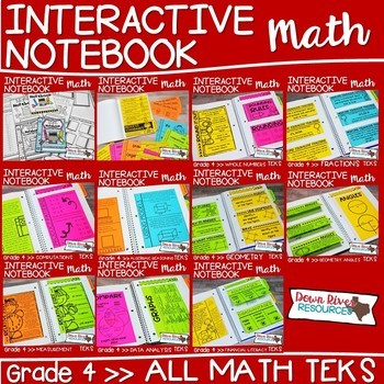 Fourth Grade Math Interactive Notebook Bundle- All TEKS Standards