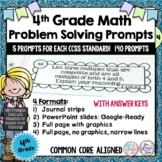 Word Problem Math Journal Prompts, Journal Strips for 4th Grade (140 prompts!)