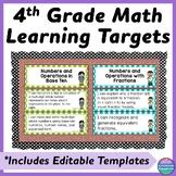 Fourth Grade Common Core Math I Can Statements and Editabl