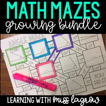 Fourth Grade Math Mazes Growing Bundle for Stations or Centers