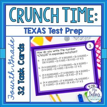 Fourth Grade Math STAAR Task Cards Place Value Test Prep TEKS 4.2B