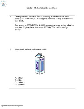 4th Grade Daily Math Spiral Review Worksheets