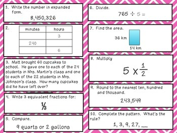 Fourth Grade Math Review 61-70 Common Core Aligned