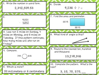 Fourth Grade Math Review 71-80 Common Core Aligned