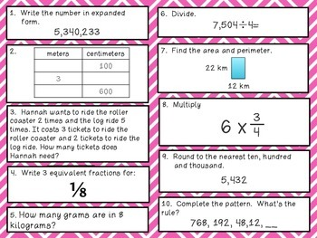 Fourth Grade Math Review 81-90 Common Core Aligned
