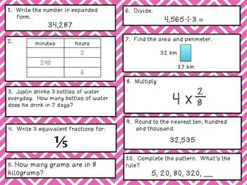 Fourth Grade Math Review 91-100 Common Core Aligned