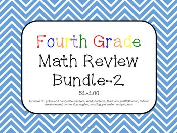 Fourth Grade Math Review Bundle 51-100 Common Core aligned