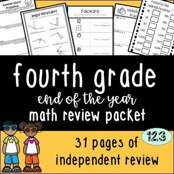 Fourth Grade Math Review {NO PREP!} Packet