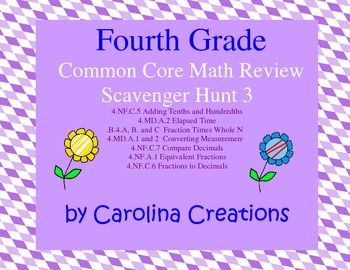 Fourth Grade Math Review Scavenger Hunt 3