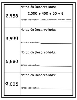 Fourth Grade Math Review - Spanish {NO PREP} Packet