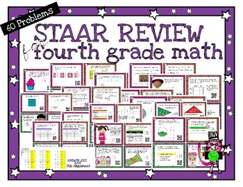 Fourth Grade Math STAAR Review - 60 task cards - Print with or without QR codes