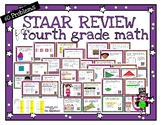 Fourth Grade Math STAAR Review - 60 task cards - Print wit