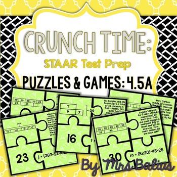 Fourth Grade Math Bar Model Puzzles TEKS 4.5A CCSS 4.OA.3 Level 4 Set #1