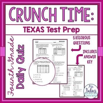 Fourth Grade Math Test Prep: STAAR Assessment Daily Quiz TEKS 4.5B