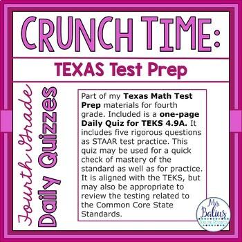 Fourth Grade Math Test Prep: STAAR Assessment Daily Quiz TEKS 4.9A