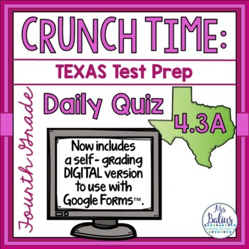 Fourth Grade Math Test Prep: STAAR Assessment Daily Quiz TEKS 4.3A