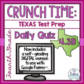 Fourth Grade Math Test Prep: STAAR Assessment Daily Quiz TEKS 4.3B