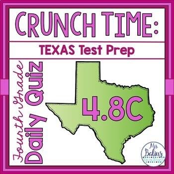 Fourth Grade Math Test Prep: STAAR Assessment Daily Daily Quiz TEKS 4.8C