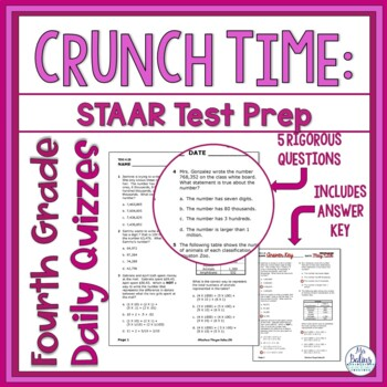 Fourth Grade Math STAAR Test Prep Assessment TEKS Readiness Standards Bundle