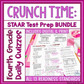 Fourth Grade Math STAAR Assessment Bundle TEKS Readiness S