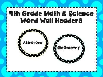 4th Grade Math & Science Word Wall Headers