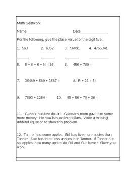 Fourth Grade Math Seat work