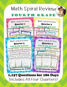 Fourth Grade Math Spiral Review: All Four Quarters for the Entire School Year!