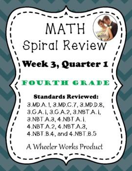 Fourth Grade Math Spiral Review, Quarter 1, Week 3