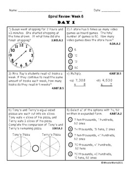 Fourth Grade Math Spiral Review, Quarter 1, Week 6