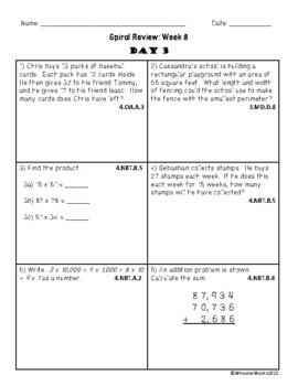 Fourth Grade Math Spiral Review, Quarter 1, Week 8
