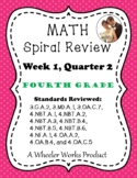 Fourth Grade Math Spiral Review, Quarter 2, Week 1