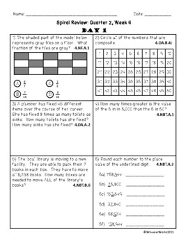 Fourth Grade Math Spiral Review, Quarter 2, Week 4