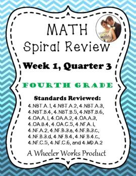 Fourth Grade Math Spiral Review, Quarter 3, Week 1