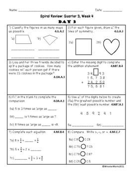 Fourth Grade Math Spiral Review, Quarter 3, Week 4