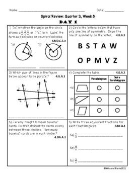 Fourth Grade Math Spiral Review, Quarter 3, Week 5