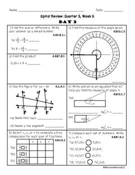 Fourth Grade Math Spiral Review, Quarter 3, Week 6