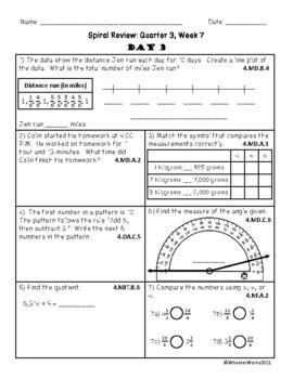 Fourth Grade Math Spiral Review, Quarter 3, Week 7