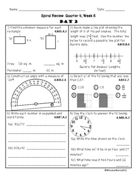 Fourth Grade Math Spiral Review, Quarter 4, Week 6