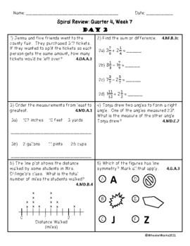 Fourth Grade Math Spiral Review, Quarter 4, Week 7