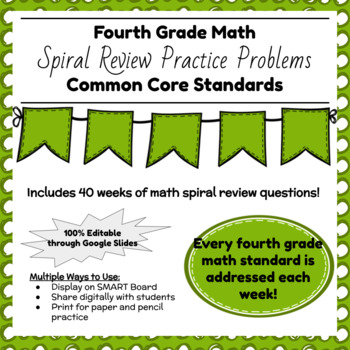 Fourth Grade Math Spiral Review for the Whole School Year!