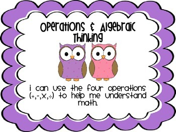 Fourth Grade Math Standards--I Can Posters