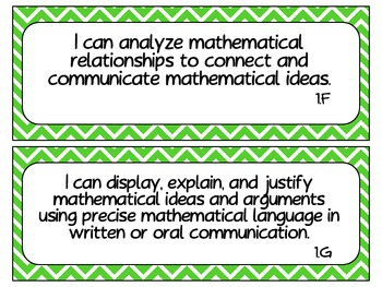 Fourth Grade Newly Revised Math TEKS~ Green Chevron
