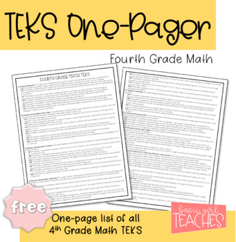 Fourth Grade Math TEKS One Pager