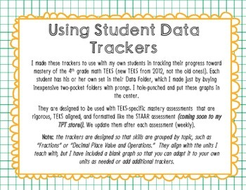 Fourth Grade Math TEKS Student Data Trackers