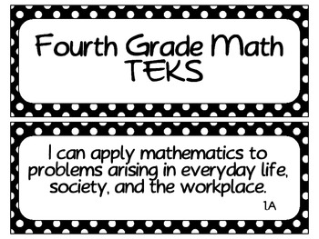 Fourth Grade Newly Revised Math TEKS~ White Dots on Black