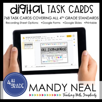 Fourth Grade Math Task Cards ~ All Standards Digital Edition