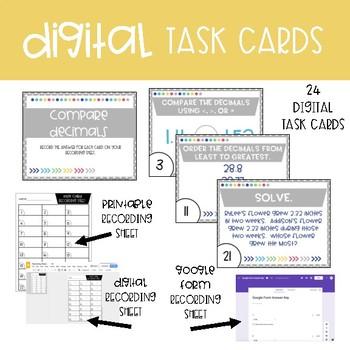 Fourth Grade Math Task Cards ~ Compare Decimals